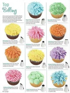 Chocolate CupCakes Banana Chocolate Cupcakes & What tip to use for what decoration.Banana Chocolate Cupcakes & What tip to use for what decoration. Frost Cupcakes, Yummy Cupcakes, Baking Cupcakes, Flower Cupcakes, Cupcake Bouquets, Cake Baking, Wilton Cupcakes, Lavender Cupcakes, Lemon Cupcakes