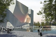 Rendering. Tianjin Ecociudad Ecología y planificación de Museos diseñados por Steven Holl Architects.