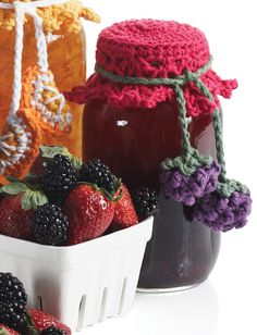 Lily Canning Jar Toppers - Patterns  | Yarnspirations  #crochet #pattern