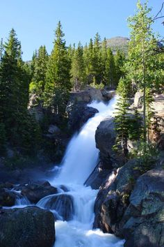 Alberta Falls in Rocky Mountains National Park, Colorado. This is one of Rocky Mountain National Park's more popular hikes; it's great for less-intense hikers (or families and kids), and it offers some of the best scenery in the whole park. The short route follows a creek until you reach the rolling Alberta Falls, where you can take a break and cool off in the falls' mist. If you're still up for more hiking, you can continue on the trail, which leads hikers past some of the park's lovely…