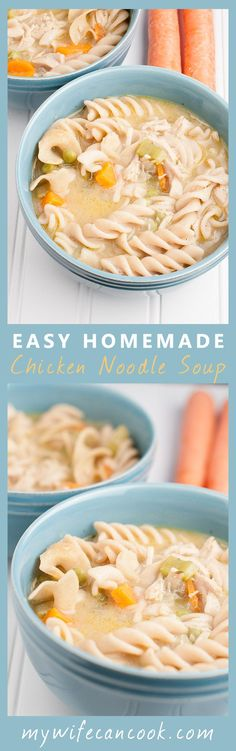 This Hearty and Easy Homemade Chicken Noodle Soup is the perfect meal to warm your soul. Find the full soup recipe and instructions here: http://www.mywifecancook.com/dinner/easy-homemade-chicken-noodle-soup/. We fill our Homemade Chicken Noodle Soup with lots of vegetables: peas, carrots, onions and celery. Your kids might even eat them! And we make the prep even easier by cutting the vegetables ahead of time, using chicken leftovers or a roaster, and using frozen peas. Try it today!