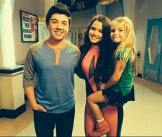 Bradley Steven Perry, Paris Berelc, and Mia Talerico on the set of Mighty Med