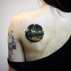 #tattoo #ink #minimalism #landscape #landscapetattoo #rtats #ksuarrow #тату