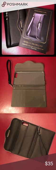 Rebecca Minkoff Leather Folio Wristlet This Rebecca Minkoff iPhone 6 Plus (the larger screen) genuine leather folio wristlet is brand new. There is a magnetic closure and gold accent hardware, two card slots and a phone case. Great 🎁 💡 for a stocking stuffer! Rebecca Minkoff Accessories Phone Cases