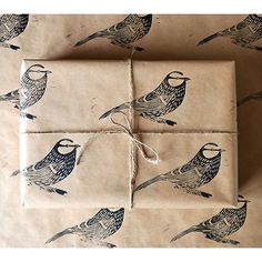 Hand Printed Bird Gift Wrap ($3.24) ❤ liked on Polyvore featuring home, home decor, merry christmas sign, handmade signs, european home decor, wildlife home decor and blue sign