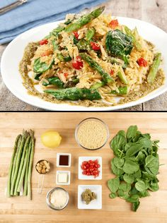 One-Skillet Lemon Orzo Risotto with Asparagus with spinach and Sweety Drop…