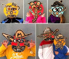 mascaras locas de Carnaval -made with recycled materials Cardboard Mask, Cardboard Painting, Kids Printmaking, Craft Activities For Toddlers, 6th Grade Art, Art Curriculum, Cool Masks, Funky Art, Masks Art