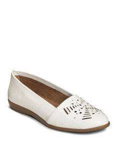 A2 by Aerosoles White Faux Leather Trend Right Flat