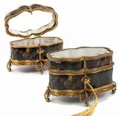 Superb Antique French Faux Tortoise Shell & Ormolu Jewelry Box, Casket c…