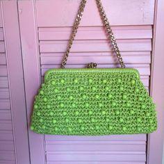 Crazy Cool 60s Beaded Green Handbag by RunningRabbitStudio on Etsy