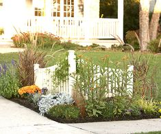 Dress Up the Driveway - like this? I see a different type of fence and different plants, but it is a good idea.