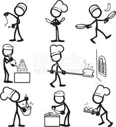 Stick Figure People cooking royalty-free stick figure people cooking stock vector art & more images of stick figure Doodle Drawings, Easy Drawings, Doodle Art, Koch Tattoo, Stick Figure Drawing, Doodle People, Visual Thinking, Stick Art, Graphics