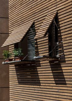 Bagh-Janat residential architecture with timber and travertine cladding in Isfahan Iran by Bracket Design Studio - Architectural Architecture Résidentielle, Cultural Architecture, Contemporary Architecture, House Cladding, Timber Cladding, Cladding Ideas, Timber Slats, Wooden Facade, Wooden Slats