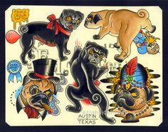 LOVE IT!! Pug Dog Traditional Tattoo Flash Print by EzraHaidetTattooer, $15.00