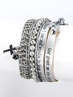 Silver, Metal Cross Charm Leather with Message Wrap Bracelet Cross Letter Engraved Materials Leatherette Length 32 Inch Unknown http://www.amazon.com/dp/B00KXB58EE/ref=cm_sw_r_pi_dp_lwMLvb1FJE93B