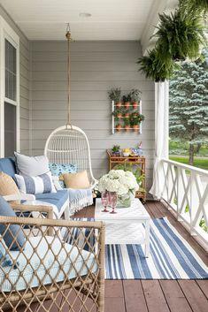 60 creative small balcony design ideas for spring 13 Outdoor Spaces, Outdoor Living, Outdoor Decor, Outdoor Swing Chair, Porch Swing, Summer Porch Decor, Beach Porch, Porch Wall Decor, House With Porch
