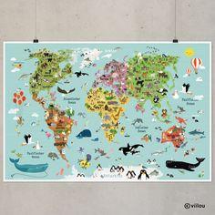 Wandtattoos - Illustrierte Weltkarte für Kinder XXL 120x80 cm - ein Designerstück von viilou bei DaWanda