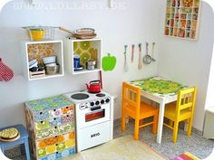 Love the colors! Play Kitchen