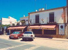 Santiponce, Sevilla. Andalucía. Bar Ristorante di fronte all'ingresso del Sito Archeologico di Itálica.