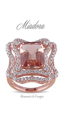 High Pink Jewellery   TJS   Pink Zirconia simulating Morganite with White Diamonds Cocktail Ring by Miadora