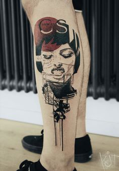 Graphic style woman portait by KOit Tattoo. Berlin