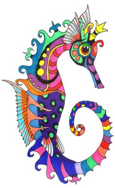 Seahorse Print of Original Sharpie Marker Art by SeaMySoul on Etsy
