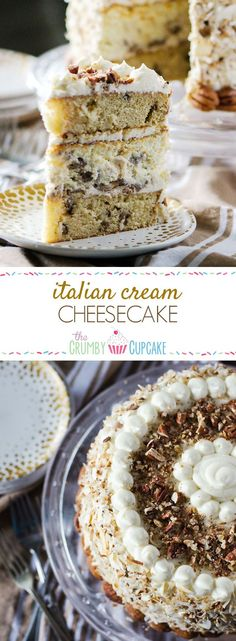 Italian Cream Cheesecake   Two layers of classic Italian Cream Cake and a complementary layer of coconut pecan cheesecake sandwiched in the middle make for one amazing dessert! Così bello!:
