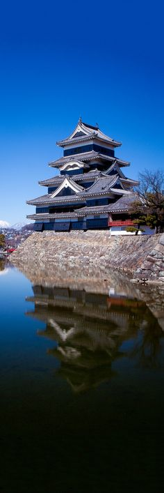 """Matsumoto Reflected"" by Kory Carpenter on 500px - Matsumoto Castle on a clear spring day.  Nagano, Japan."