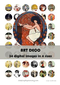 "Printable 1"", 2"", 1.5"", 30mm circle images ART DECO' collage (24 images, 4 sizes) for printing, jewelry, scrapbooking"