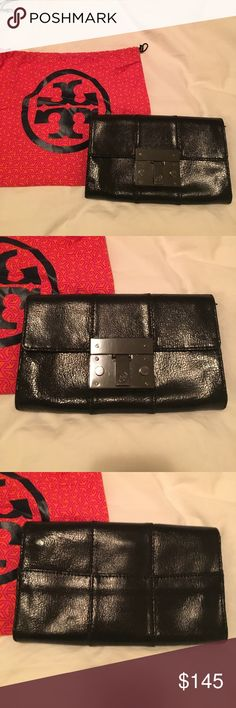 TORY BURCH CLUTCH Black clutch authentic Tory Burch. Several pockets as shown in photo. Black leather with a light shiny finish. Excellent condition, sold with dust bag. Tory Burch Bags Clutches & Wristlets