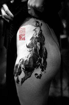 Wild Brush Horse - Chinese Calligraphy Painting Upper Thigh Tattoo Art - Black A. - Wild Brush Horse – Chinese Calligraphy Painting Upper Thigh Tattoo Art – Black And Gray Horse Body Art Tattoos, Girl Tattoos, Buddha Tattoos, Tatoos, Hand Tattoos, Small Tattoos, Sleeve Tattoos, Tigh Tattoo, Upper Thigh Tattoos