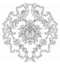 This Pin was discovered by Zey Stencil Patterns, Stencil Designs, Zentangle Patterns, Pattern Art, Embroidery Patterns, Pattern Coloring Pages, Colouring Pages, Coloring Books, Islamic Motifs