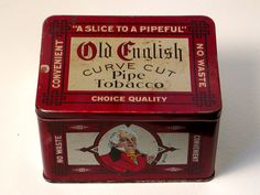Vintage OLD ENGLISH Curve Cut PIPE TOBACCO TIN Smoking Empty Curved Hinged Lid