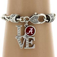 "$5.50 Crystal Accented University of Alabama ""LOVE"" Bracelet"