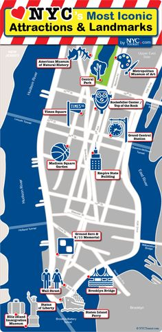 nycs most iconic attractions landmarks map helps guide tourists to all of new york citys must see destinations click each attraction on this nyc map