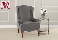 PURCHASED Sure Fit Slipcovers Ultimate Heavyweight Stretch Suede Wing Chair Slipcovers - wing chair Armchair Slipcover, Dining Chair Slipcovers, Chair Bed, Wing Chair, Cushions On Sofa, Furniture Legs, Furniture Covers, Upholstered Furniture, Sure Fit Slipcovers