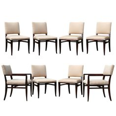 Rare Set of Eight Dining Chairs by T.H. Robsjohn-Gibbings