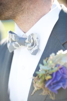 Lace bow tie | Jillian Rose Photography | http://burnettsboards.com/2013/11/love-love/