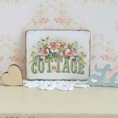 Dollhouse Miniature | White Floral Cottage | Picture Sign Plaque | Shabby Chic | 12th Scale