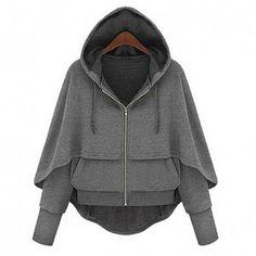 Faux Twinset Zipper Batwing Sleeves Loose-Fitting Women's Hooded Coat, DEEP GRAY, S in Jackets & Coats | DressLily.com