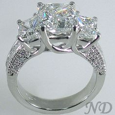 Engagement Rings :: 4.07cts. Three Stone Radiant Cut Diamond Engagement  Ring
