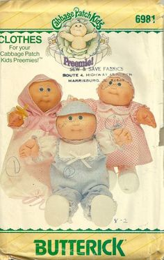 Cabbage Patch Kids Preemies Doll Clothes Pattern - 1980s Vintage Sewing Pattern by patterngate.com