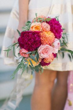 Preppy Wedding Inspiration Bright bouquet: www. Summer Wedding Bouquets, Wedding Hair Flowers, Flowers In Hair, Floral Wedding, Fall Wedding, Wedding Colors, Dream Wedding, Bridal Bouquets, Bouquet Wedding