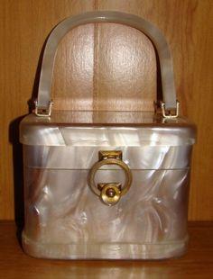 vintage white pearlized lucite purse. Stylecraft Miami.  78.00 b431c0b3b24b5