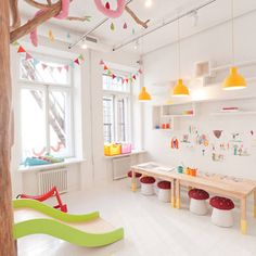 kids playroom design in biblioteka restaurant Biblioteka restaurant is the ideal place for families to enjoy good food while keeping their children. Kids Corner, Kids Restaurants, Casa Kids, Kids Cafe, Deco Kids, Playroom Design, Playroom Ideas, Daycare Design, Modern Playroom