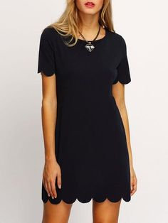 Black Scalloped Hem Short Sleeve Dress