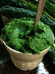 Kale pesto..., 2 cups packed kale leaves (remove tough stems) blanch for 1-2 min. 1/2 cup of nuts, 3 cloves of garlic 1/4 parmasen cheese 3 Tbsp olive oil, good pinch of sea salt and fresh cracked pepper.  Combine everything in a food processor, pulse a few times, scrape down sides, process until it's pesto (refer to photo).