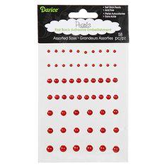 Darice® Flatback Red Adhesive Pearls - 58 pack