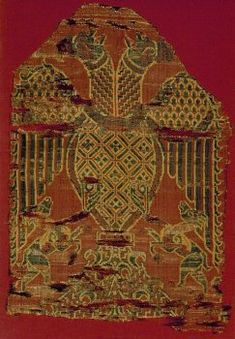 An example of the Christian adoption of the symbol is this fragment of silk with a double-headed eagle, part of the cloak that covered a statue of Notre-Dame de la Victoire in the Church of Thuir, in the Pyrénées Orientales (then Aragon, now France).