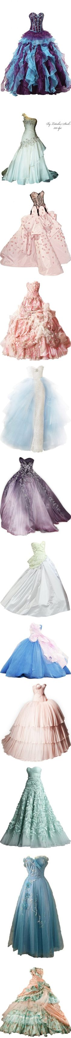 *-* Gorgeous Gowns *-* by blackseagirl on Polyvore featuring dresses, gowns, long dresses, vestidos, quinceanera dresses, prom gowns, long evening gowns, blue quinceanera dresses, long evening dresses and pink gown